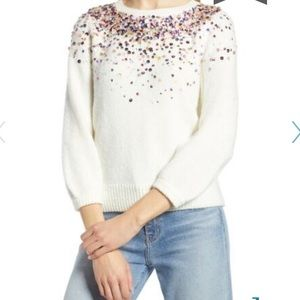 Halogen White Sequin Detail 3/4 Sleeve Sweater NWT